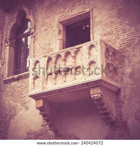 Romeo and Juliet balcony in Verona, Italy - stock photo