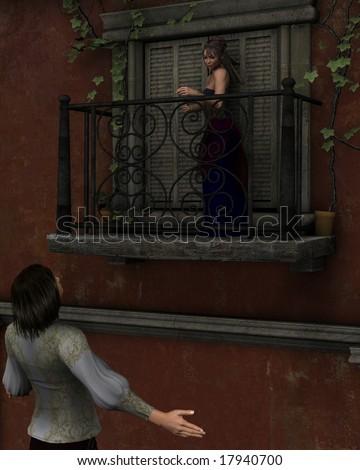 Romeo and Juliet - Shakespeare's characters, balcony scene. - stock photo