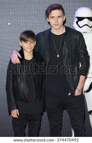 """Romeo Beckham & Brooklyn Beckham at the European premiere of """"Star Wars: The Force Awakens"""" in Leicester Square, London.  December 16, 2015  London, UK Picture: James Smith / Featureflash - stock photo"""