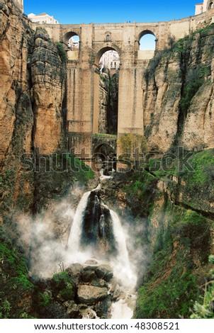 Ronda Aqueduct - stock photo