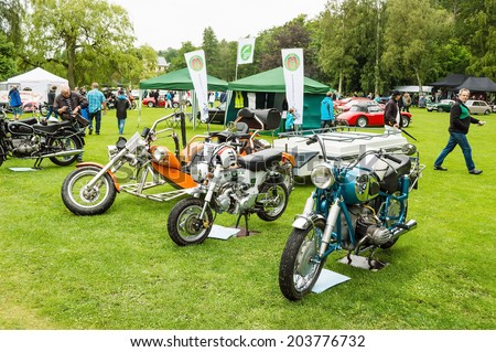RONNEBY, SWEDEN - JUNE 28, 2014: Nostalgia Festival with classic cars and motorcycles as main attractions. Classic motorcycles on display.
