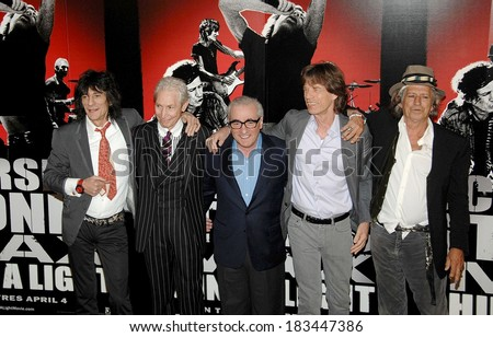 Ronnie Wood, Charlie Watts, Martin Scorsese, Mick Jagger, Keith Richards, at the press conference for SHINE A LIGHT Press Conference, The New York Palace Hotel, New York, March 30, 2008 - stock photo