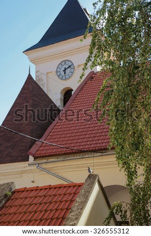 Roof and clock tower of the old  town