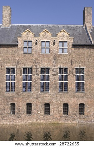 Roof and windows of the medieval castle of Helmond