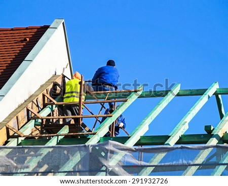 Roof construction - stock photo