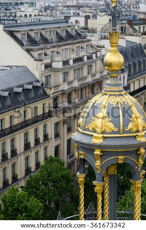 Roof Decorated with apartment in the background, Paris, France. - stock photo