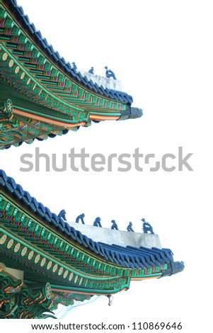 Roof detail at Gyeongbok palace ,Seoul, South Korea. - stock photo