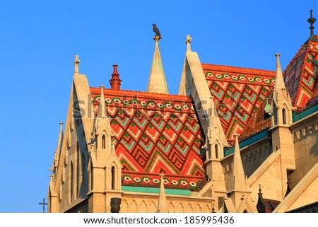 Roof detail of St Matthias catholic church in Budapest, Hungary - stock photo
