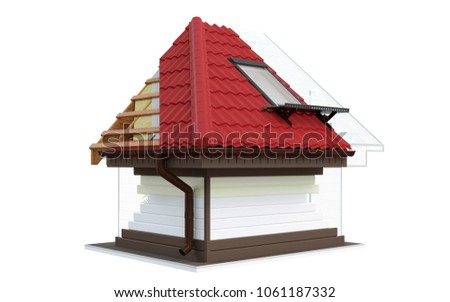 roof in terms 3d layout roof insulation 3d illustration - Roof Terms