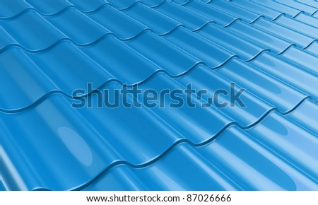 roof metal tile blue - stock photo