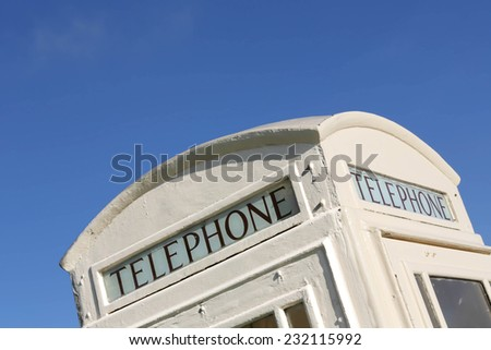 Roof of a white White Hull telephone booth, Skidby, East Yorkshire, UK - stock photo
