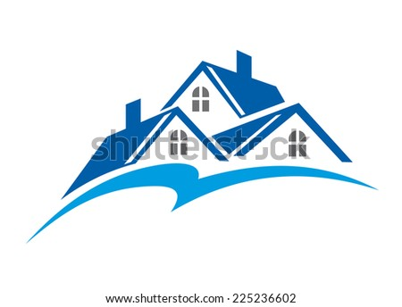 Roof of house as a real estate industry symbol isolated on white