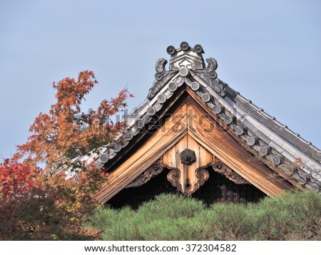 Roof of Japanese Buddhism Temple named Eikando formally known as Zenrinji Temple, famous location for Autumn Colors in Kyoto, Japan. - stock photo