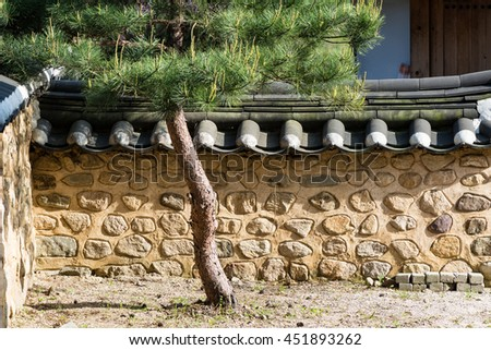 Roof of Korean traditional house. - stock photo