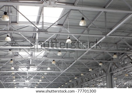Roof of large modern storehouse - stock photo
