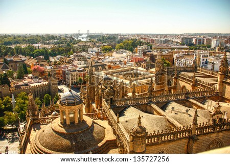 Roof of Seville cathedral from La Giralda of Seville cathedral in Sevilla , Spain - stock photo