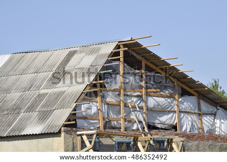 Roof of the house under construction. Construction of a private house.