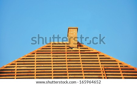roof reconstruction of house, building - stock photo