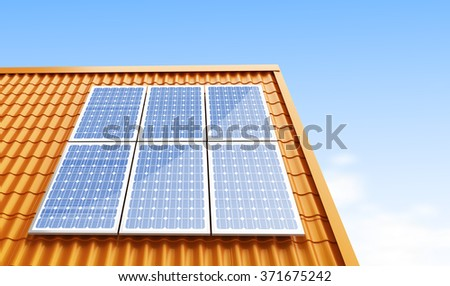 roof solar panels 3d Illustrations on a white background - stock photo
