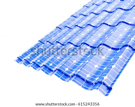 Roof solar panels  on a white background 3D illustration