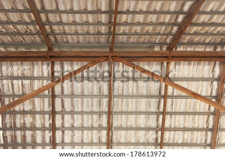 Roof structure and insulation. - stock photo
