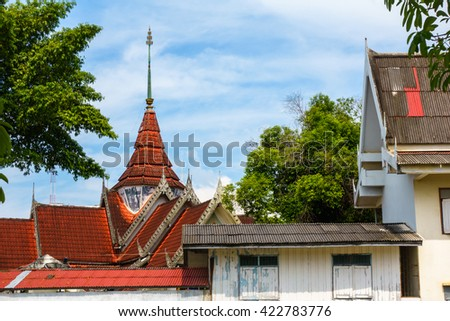 Roof style of Thai temple, Wat Mongkhon Thepharam (Wat Pak Nam) in Hatyai Songkhla Thailand. - stock photo