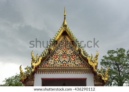 roof style of thai temple with gable apex on the top,thailand