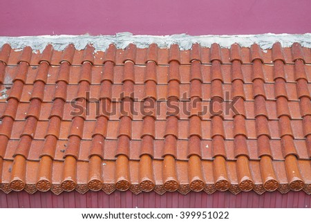 Roof tile pattern and pink wall in asian style