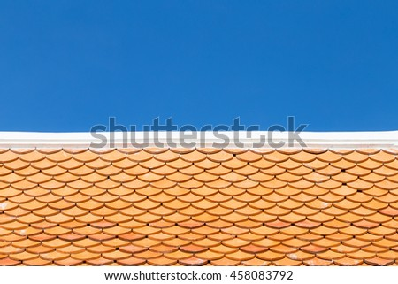 Roof tile with blue sky