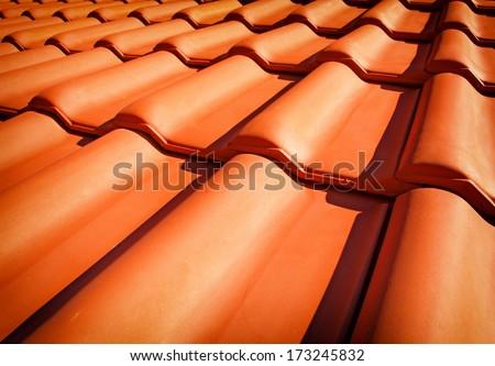 Roof tiles closeup - stock photo