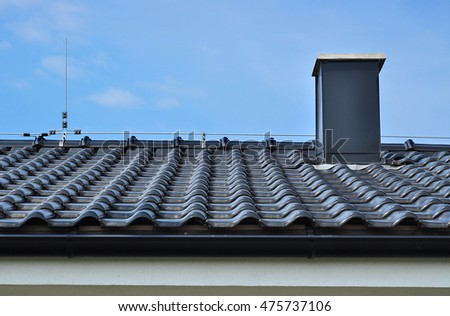 Roof tiles structure chimney detail