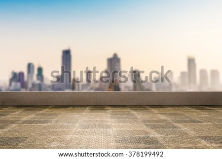 roof top balcony with cityscape background - stock photo