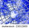 Roof top window web on blue cloudy sky background - stock photo