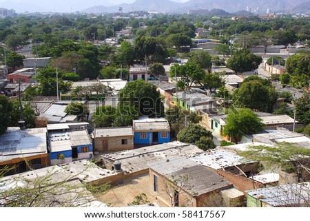 Roof tops from a poor area in Santa marta Colombia - stock photo