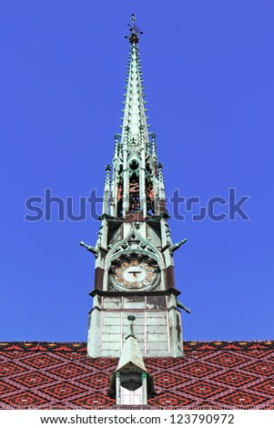 Roof with castle tower - stock photo