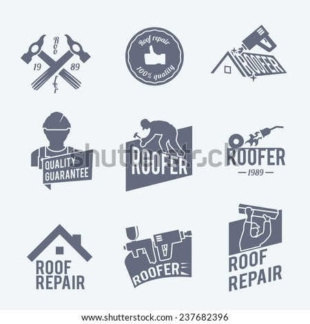 Roofer construction worker tradesman house builder grey icons set isolated  illustration - stock photo