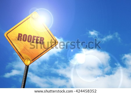 roofer, 3D rendering, a yellow road sign - stock photo