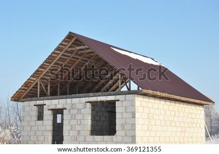Roofing Construction Building New House Autoclaved Stock Photo ...