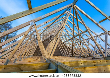 Roofing construction.Wooden construction - stock photo