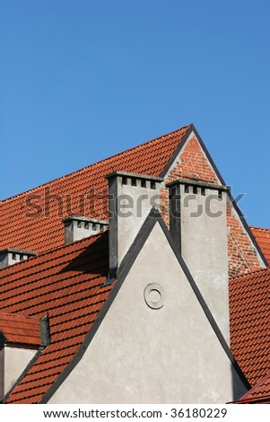 Roofs and clear sky (Riga, Latvia) - stock photo