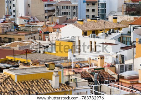 Roofs in Europe. Urban view architecture european. City landscape.