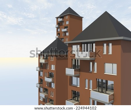 roofs of apartment complex - stock photo