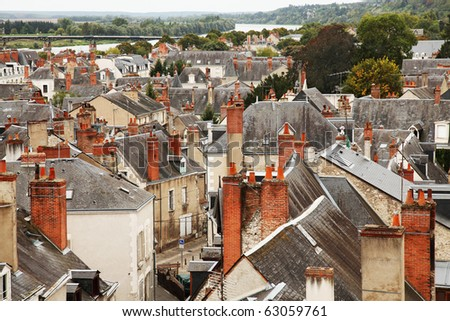 Roofs of Blois town, Loire valley, France