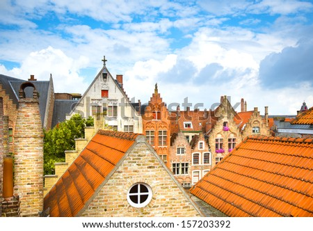 Roofs of Bruges. Belgium - stock photo