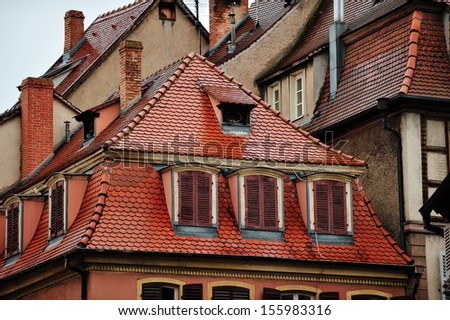 Roofs of historic houses in Colmar, France