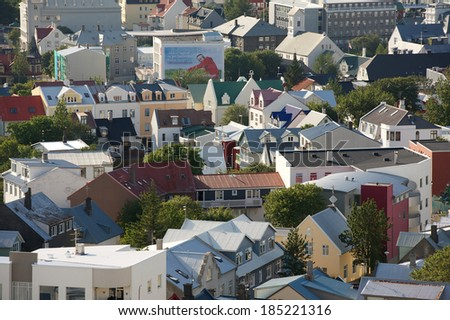 Roofs of icelandic houses in Reykjavik on a sunny day - stock photo