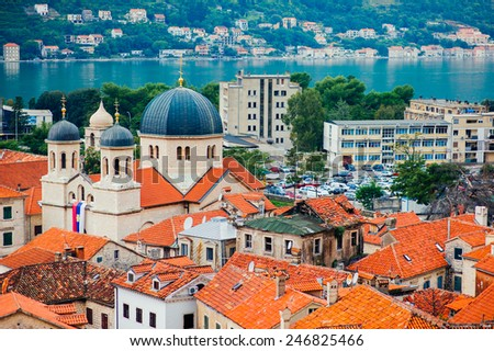 Roofs of Kotor in Montenegro. In the Bay of Kotor - stock photo