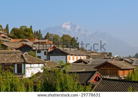 roofs of lijiang old town, yunnan, china - stock photo