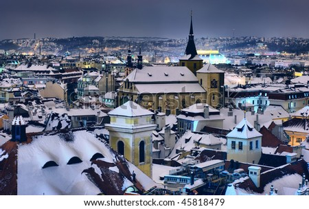 Roofs of Prague in the winter night