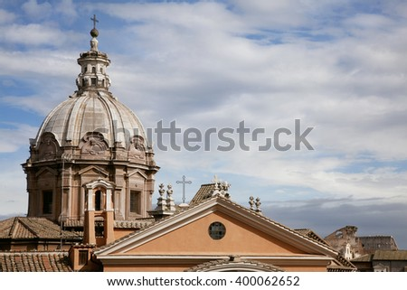 Roofs of Rome - stock photo